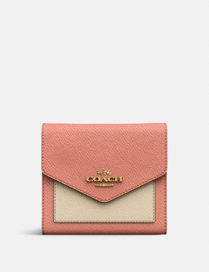 Coach Small Wallet in Colorblock Light Peach Multi/Gold Women Small Leather Goods Small Wallets