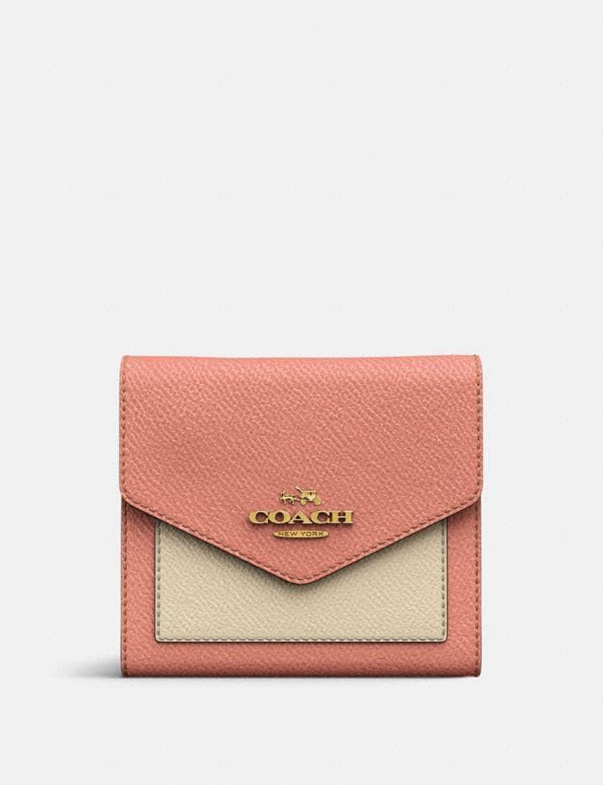Coach Small Wallet in Colorblock Light Peach Multi/Gold CYBER MONDAY SALE Women's Sale Wallets & Wristlets