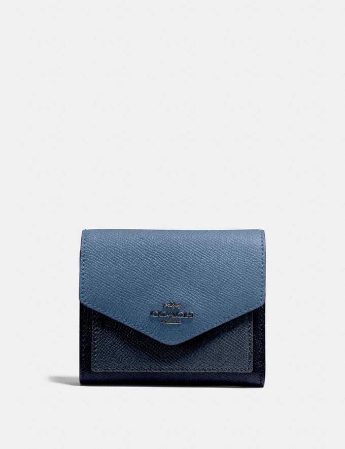 Coach Small Wallet in Colorblock Slate Multi/Gunmetal Women Wallets & Wristlets Small Wallets