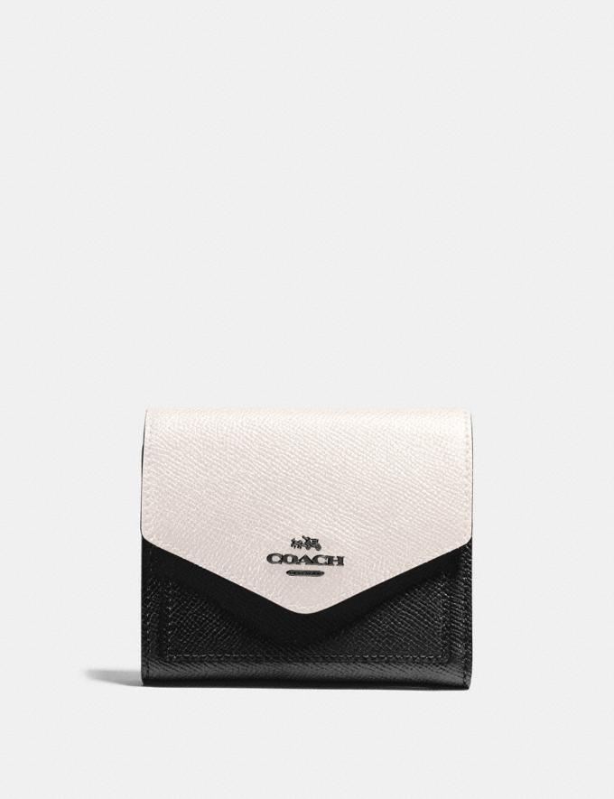 Coach Small Wallet in Colorblock Black Multi/Gunmetal Women Wallets & Wristlets Small Wallets