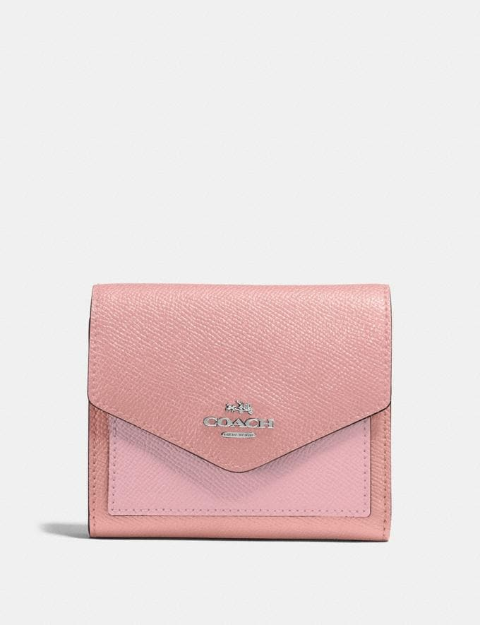 Coach Small Wallet in Colorblock Light Blush Multi/Silver New Women's New Arrivals Small Leather Goods