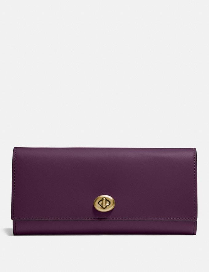 Coach Envelope Wallet Plum/Brass Personalise For Her Wallets