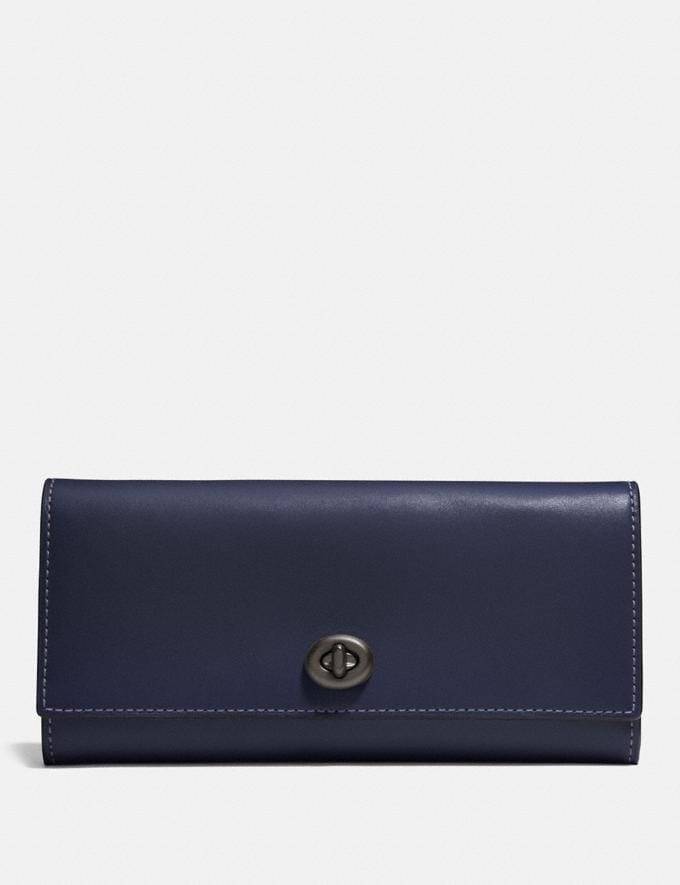 Coach Envelope Wallet Midnight Navy/Black Copper Gifts For Her