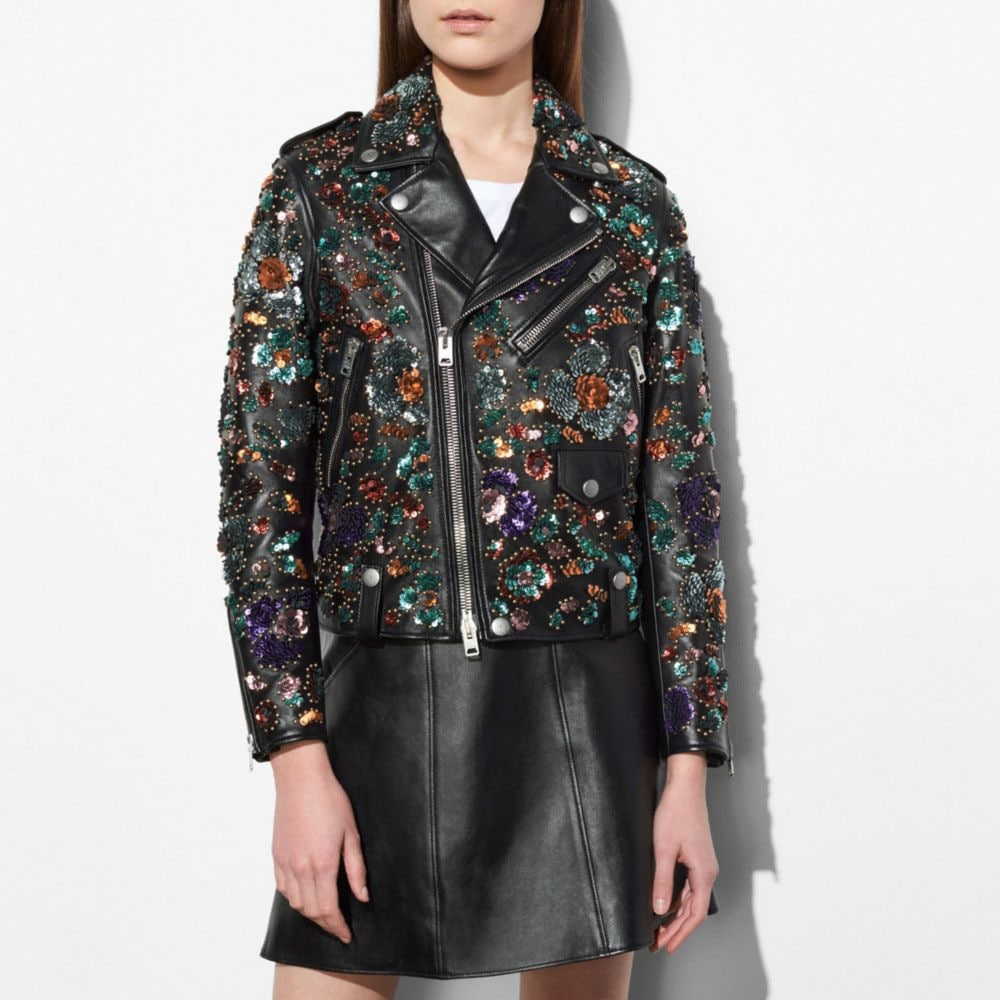 Moto Jacket With Leather Sequins