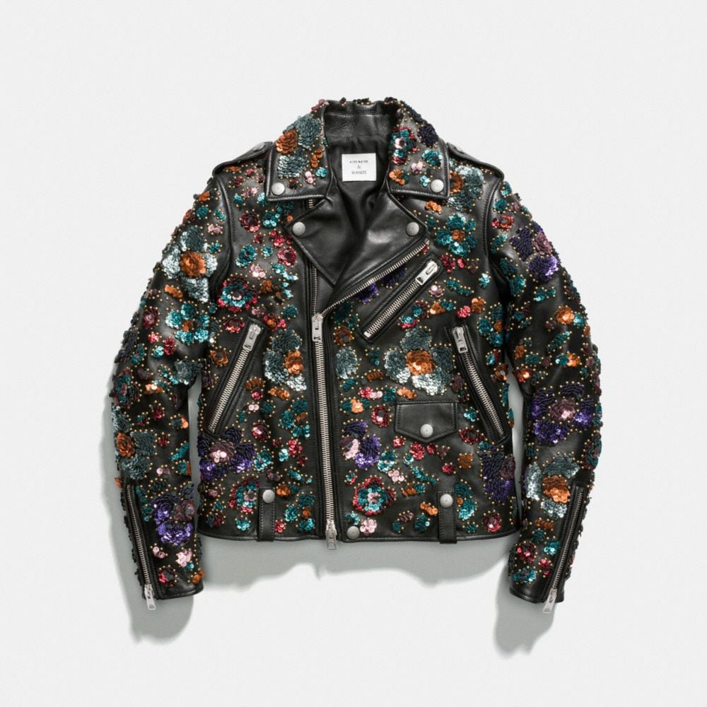 Moto Jacket With Leather Sequins - Alternate View A1