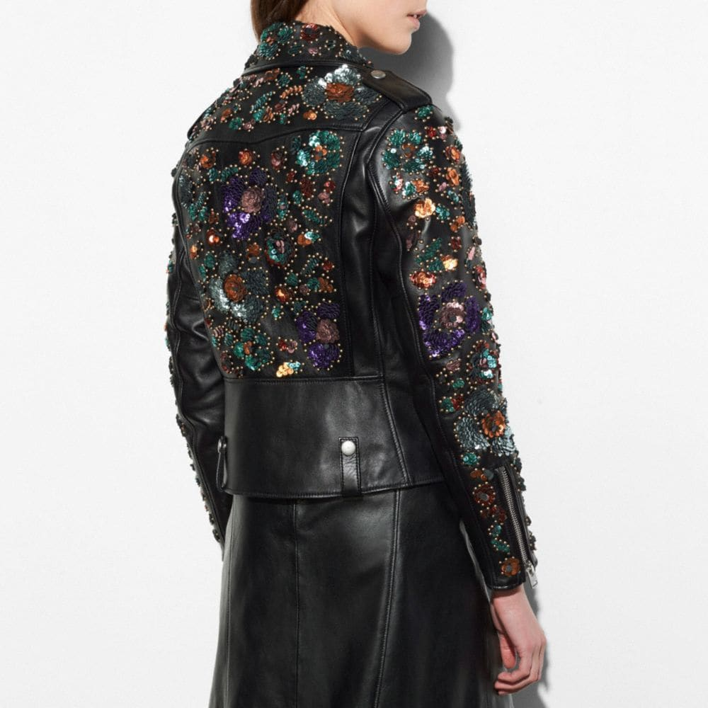 Moto Jacket With Leather Sequins - Alternate View M1