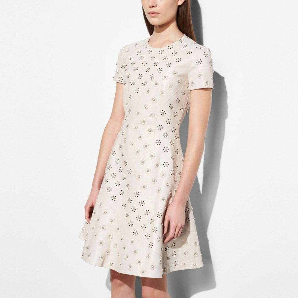 circle leather dress with whipstitch eyelet