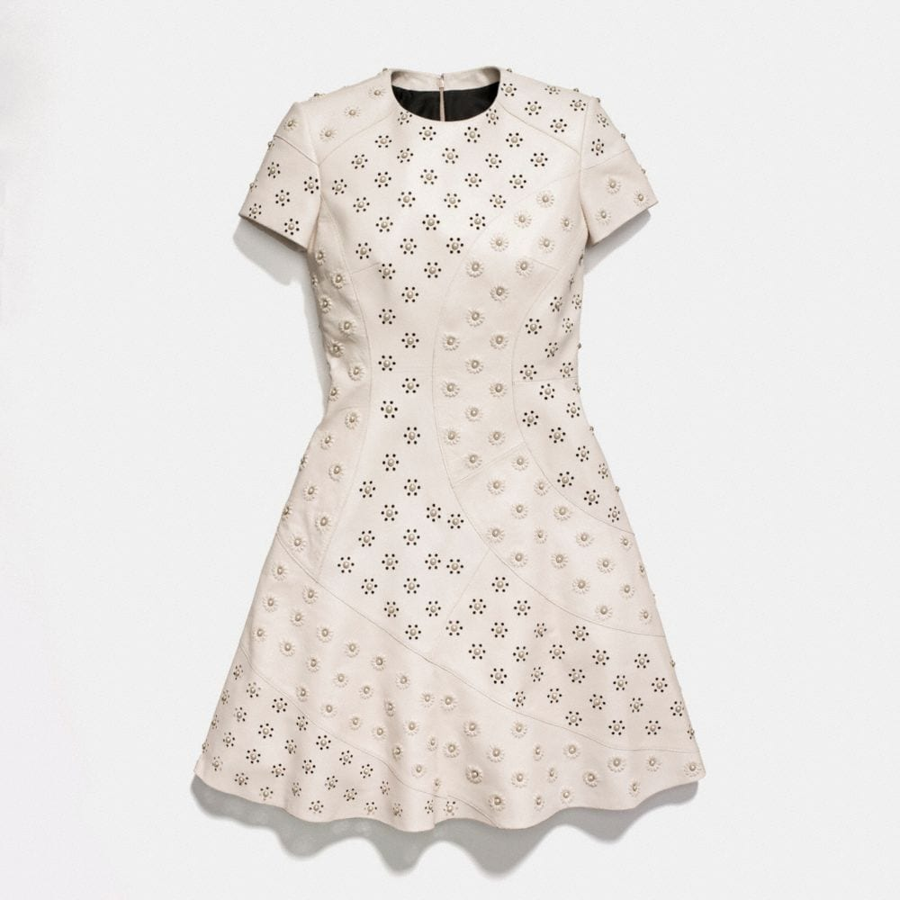 Coach Circle Leather Dress With Whipstitch Eyelet Alternate View 1