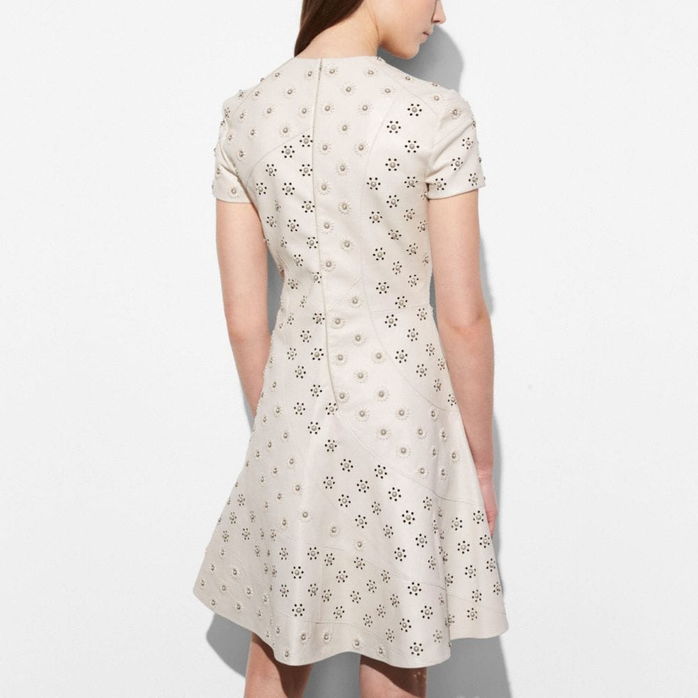 Coach Circle Leather Dress With Whipstitch Eyelet Alternate View 3