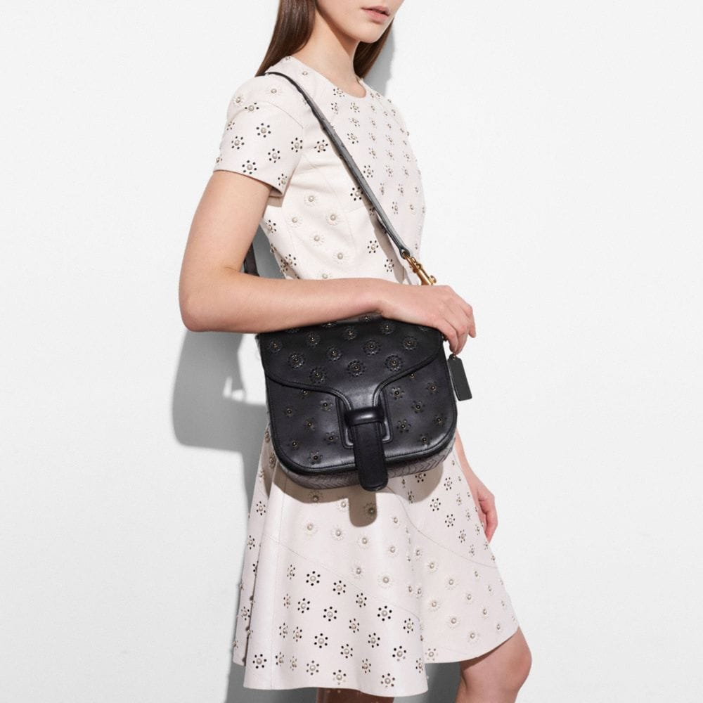 Coach Circle Leather Dress With Whipstitch Eyelet Alternate View 4