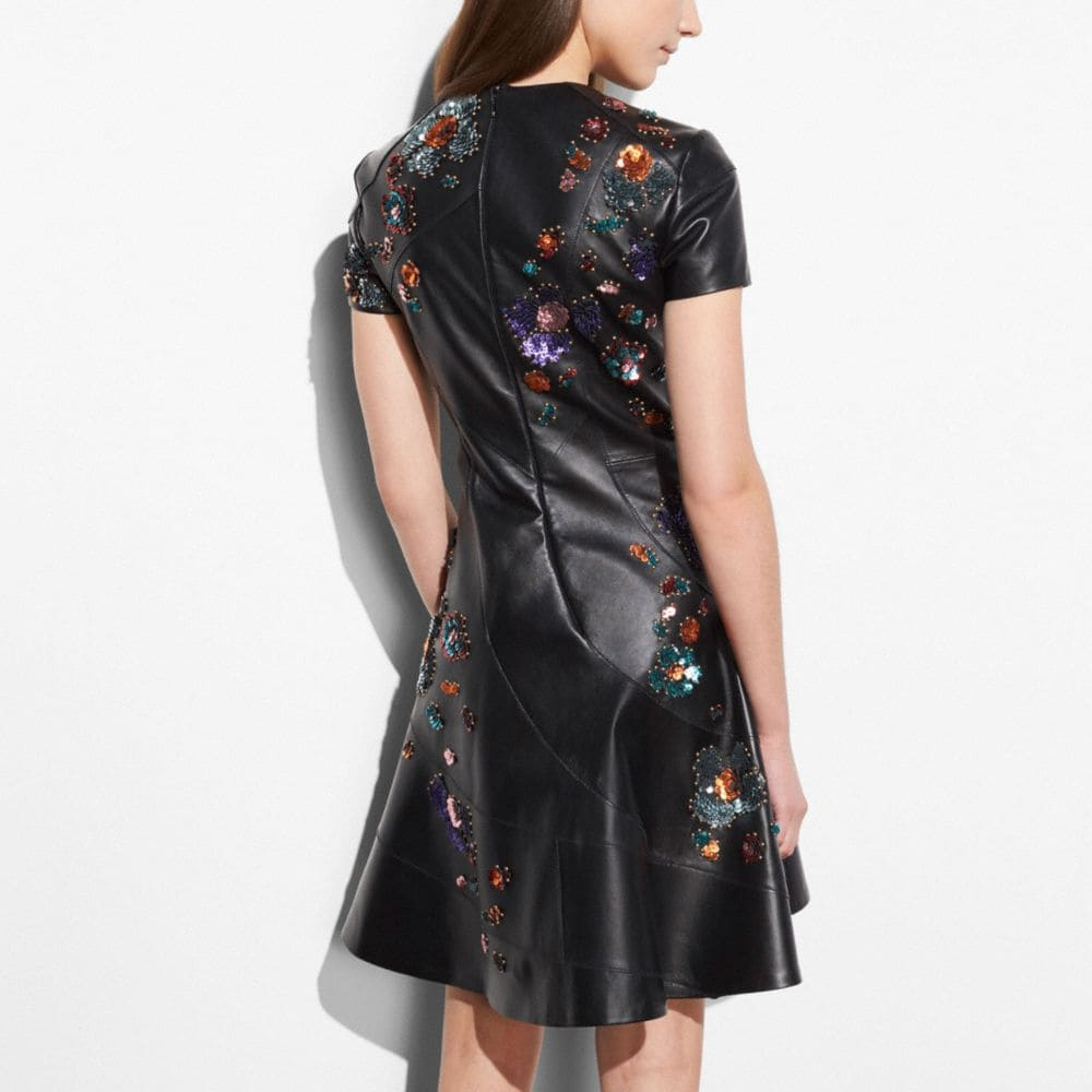 Coach Circle Dress With Leather Sequins Alternate View 3