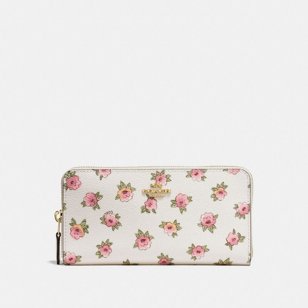 ACCORDION ZIP WALLET WITH FLOWER PATCH PRINT