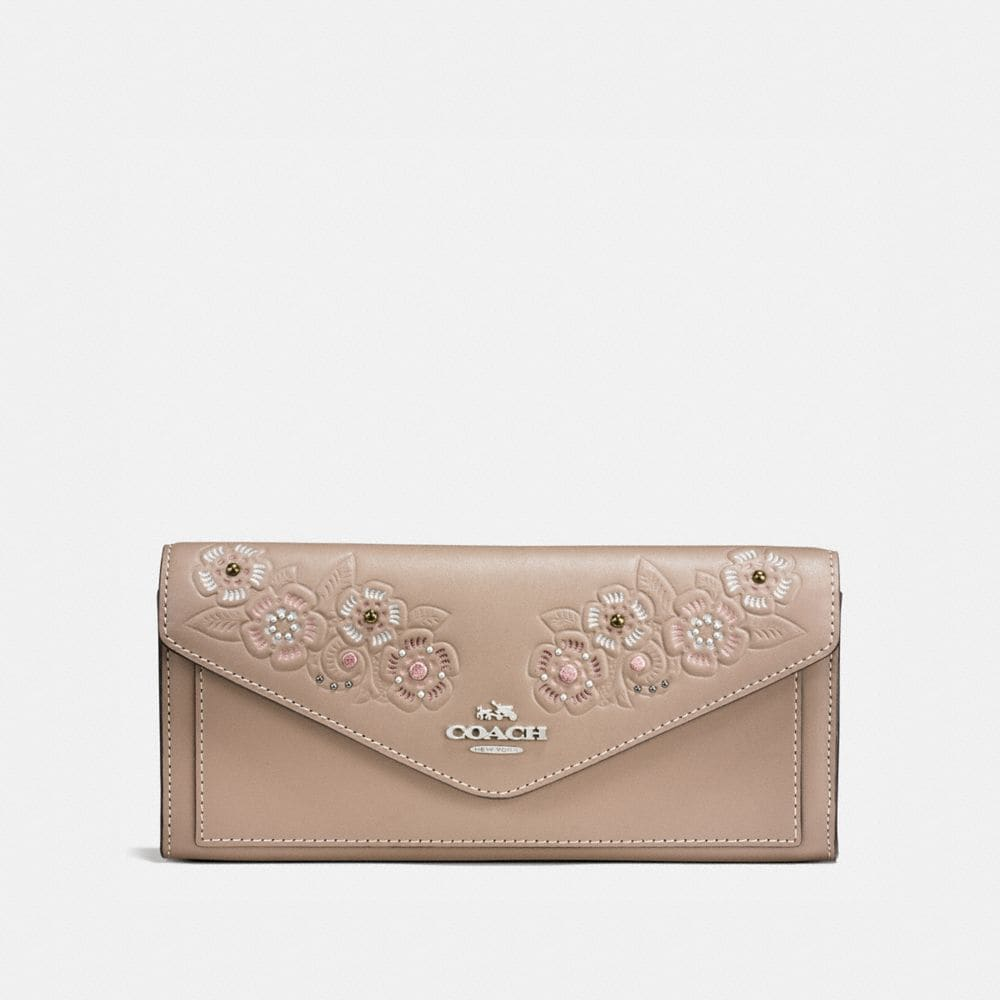 Coach Soft Wallet With Painted Tea Rose Tooling