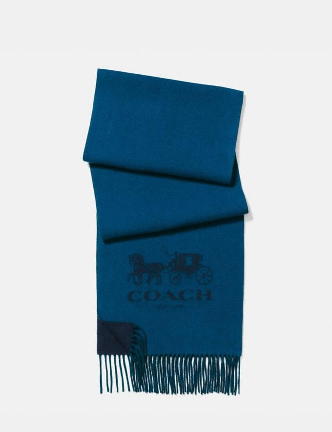 Coach Signature Cashmere Scarf Navy/Denim Men Accessories Scarves