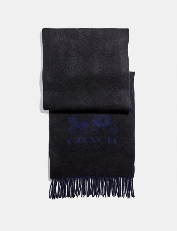 Coach Signature Cashmere Scarf Black/Midnight Men Accessories Hats, Scarves & Gloves
