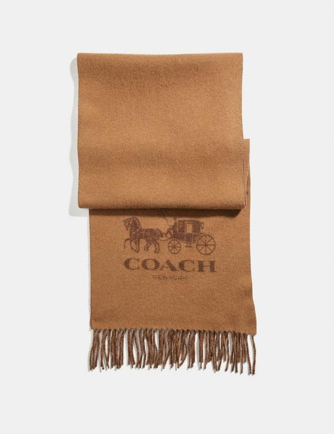 Coach Signature Cashmere Scarf Camel/Saddle Men Accessories Hats, Scarves & Gloves