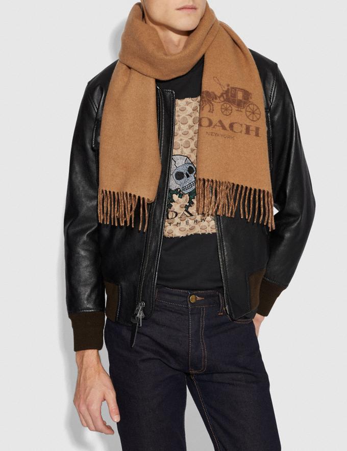 Coach Signature Cashmere Scarf Camel/Saddle Men Accessories Hats, Scarves & Gloves Alternate View 1