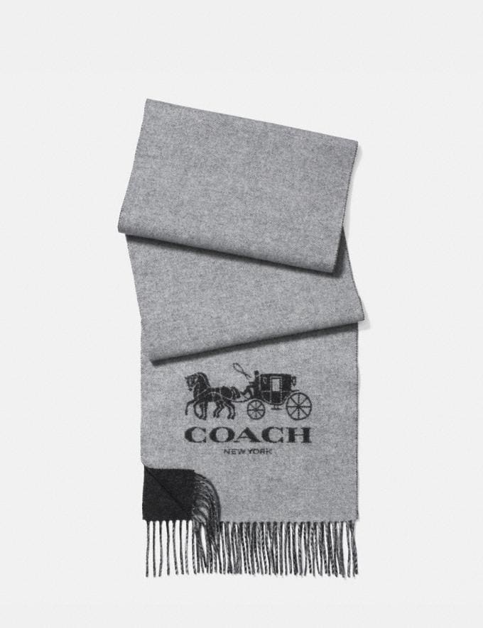 Coach Signature Cashmere Scarf Charcoal/Grey Men Accessories Scarves