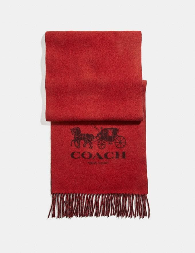 Coach Signature Cashmere Scarf Carmine/Oxblood Men Accessories Scarves