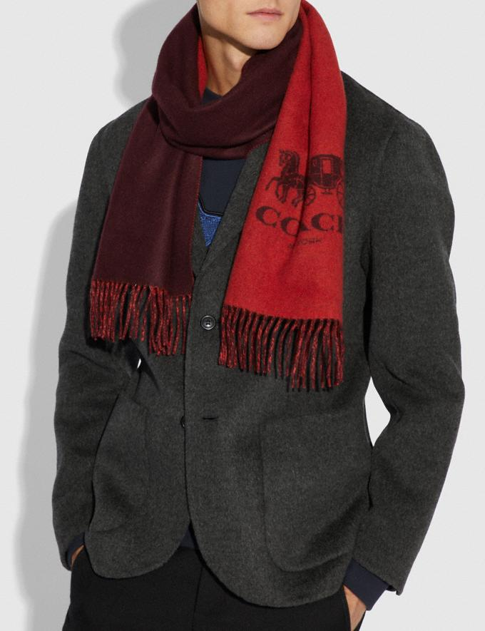 Coach Signature Cashmere Scarf Carmine/Oxblood Men Accessories Scarves Alternate View 1