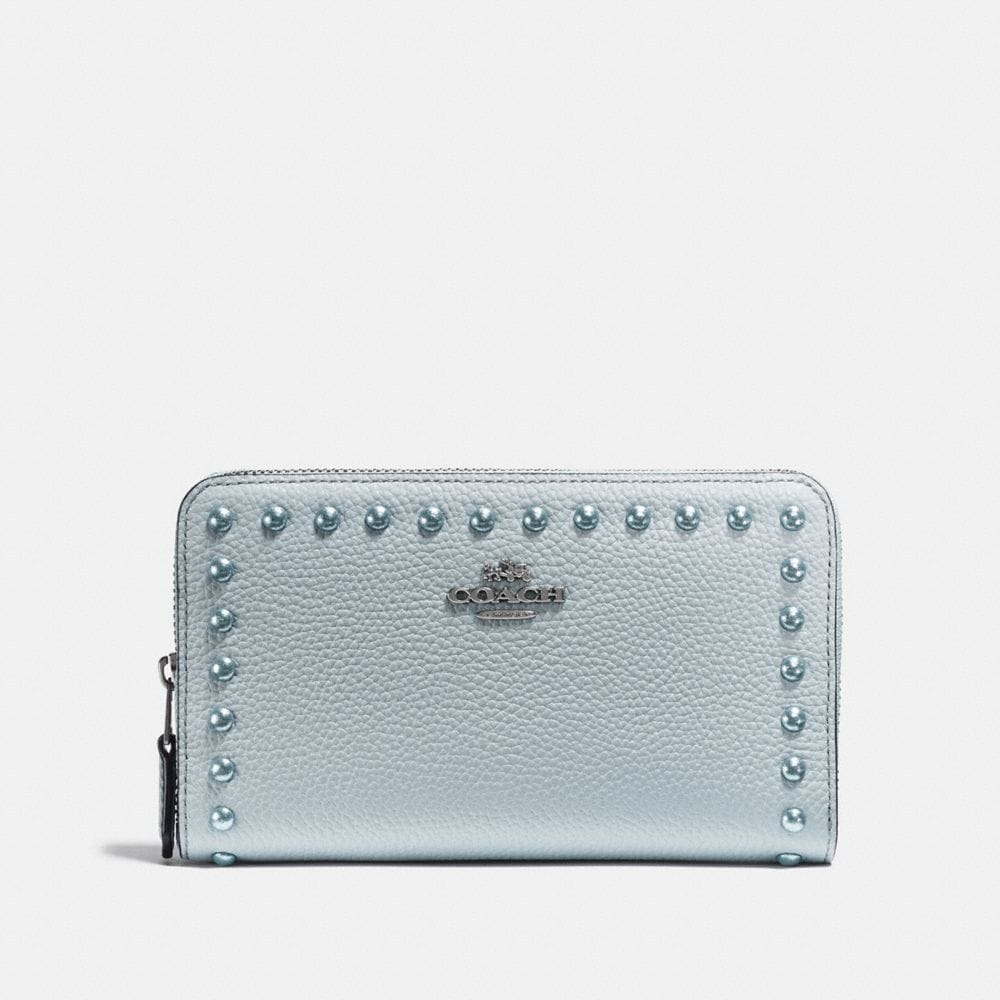 Coach Medium Zip Around Wallet With Lacquer Rivets