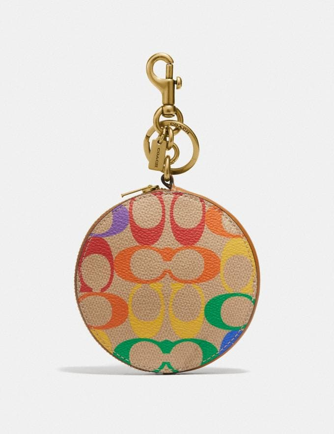 Coach Coin Case Bag Charm in Rainbow Signature Canvas Gd/Multi Nuevo Destacado Colección Orgullo de Coach