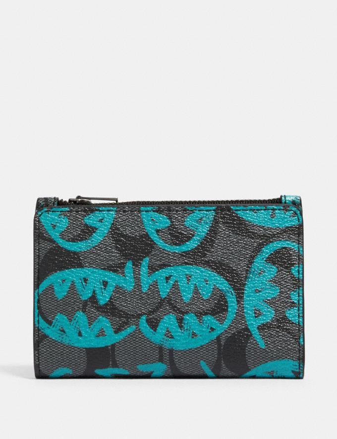 Coach Slim Bifold Card Wallet in Signature Canvas With Rexy by Guang Yu Qb/Charcoal Blue Green