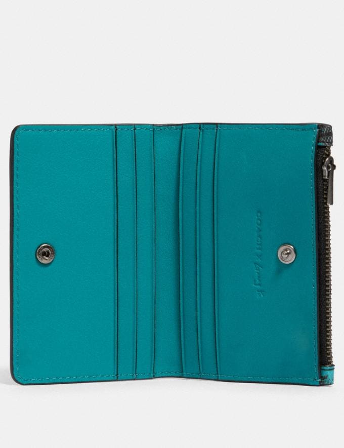 Coach Slim Bifold Card Wallet in Signature Canvas With Rexy by Guang Yu Qb/Charcoal Blue Green  Alternate View 1