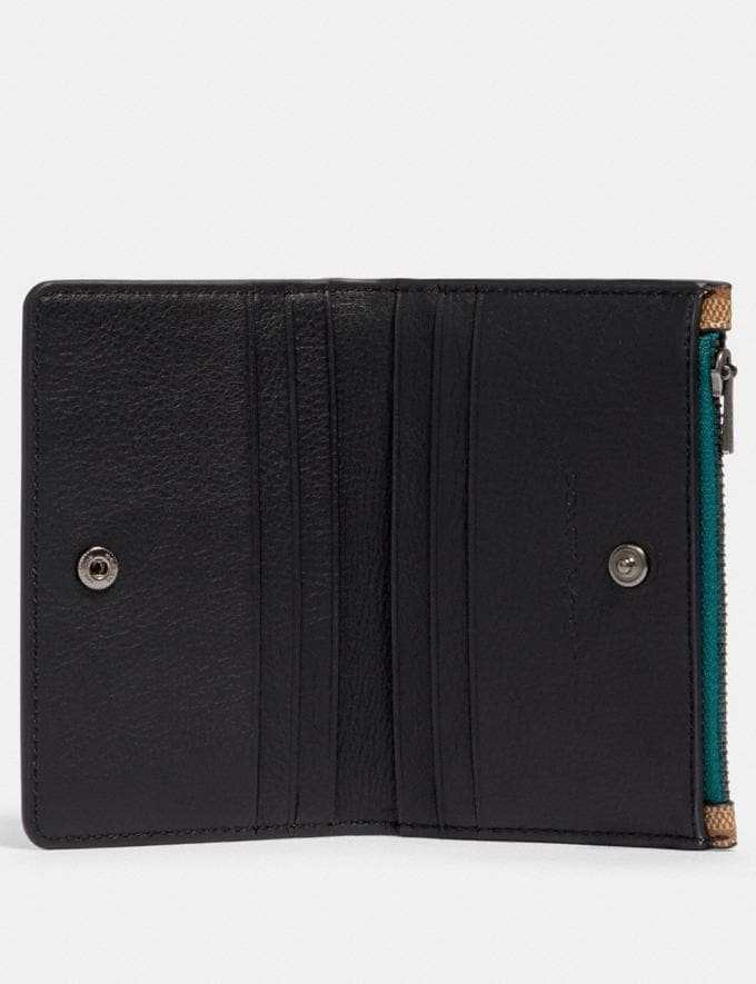 Coach Slim Bifold Card Wallet in Signature Canvas With Rexy by Guang Yu Qb/Tan Black  Alternate View 1