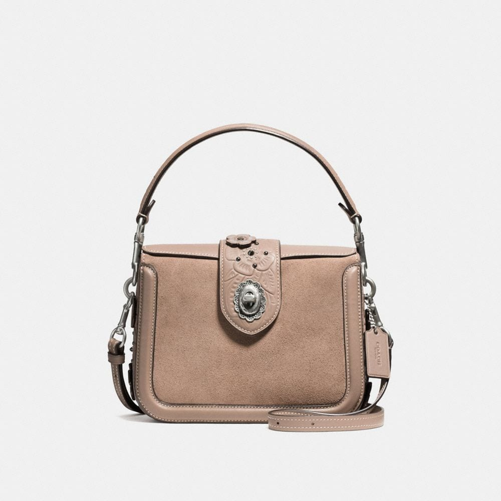 PAGE CROSSBODY IN GLOVETANNED LEATHER WITH PAINTED TEA ROSE TOOLING