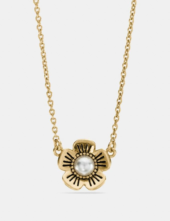 Coach Tea Rose Pearl Necklace Gold