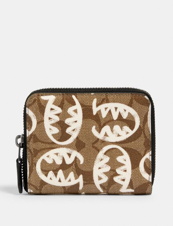 Coach Medium Zip Around Wallet in Signature Canvas With Rexy by Guang Yu Qb/Tan Chalk