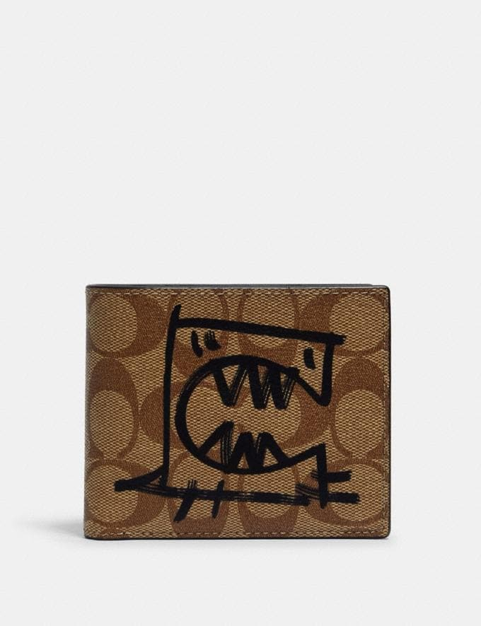 Coach 3-In-1 Wallet in Signature Canvas With Rexy by Guang Yu Qb/Tan Black