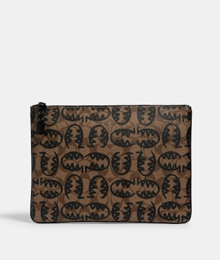LARGE POUCH IN SIGNATURE CANVAS WITH REXY BY GUANG YU