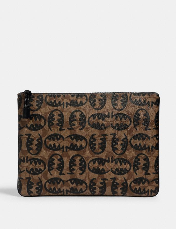 Coach Large Pouch in Signature Canvas With Rexy by Guang Yu Qb/Tan Black Deals Finds Under $100