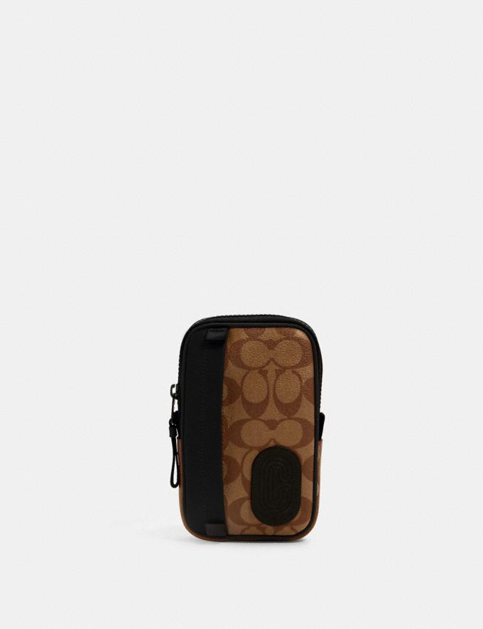 Coach North/South Hybrid Pouch in Signature Canvas With Coach Patch Qb/Tan Black