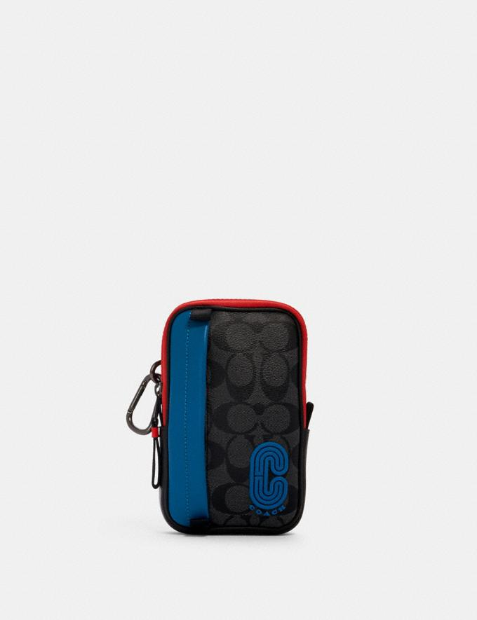 Coach North/South Hybrid Pouch in Colorblock Signature Canvas With Coach Patch Qb/Charcoal/ Blue Jay Multi Men