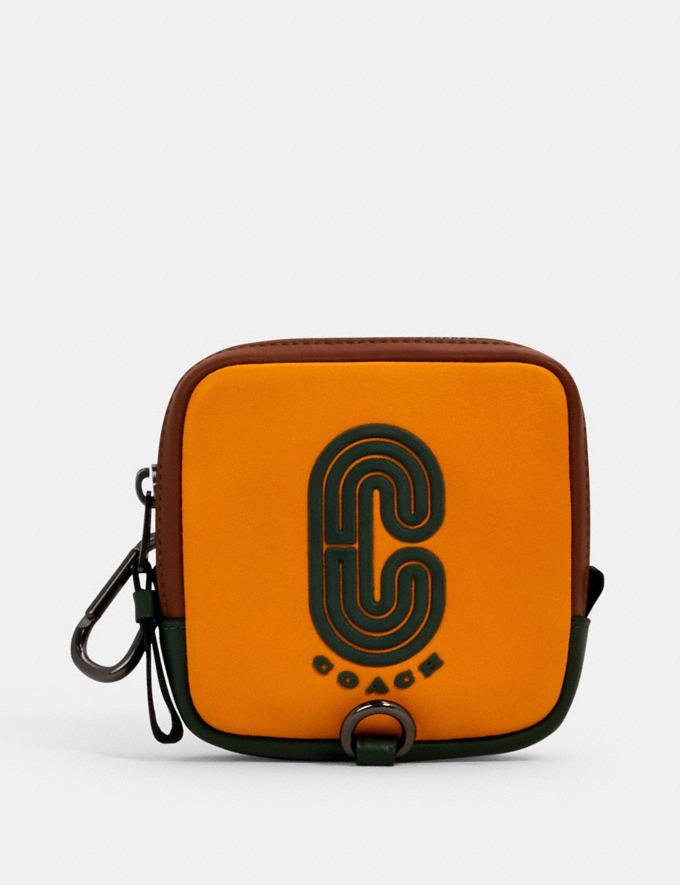 Coach Square Hybrid Pouch in Colorblock With Coach Patch Qb/Tumeric/ Dark Clover Mulri Translations null