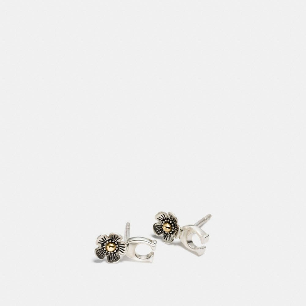 Coach Sterling Silver Signature C Willow Floral Earring
