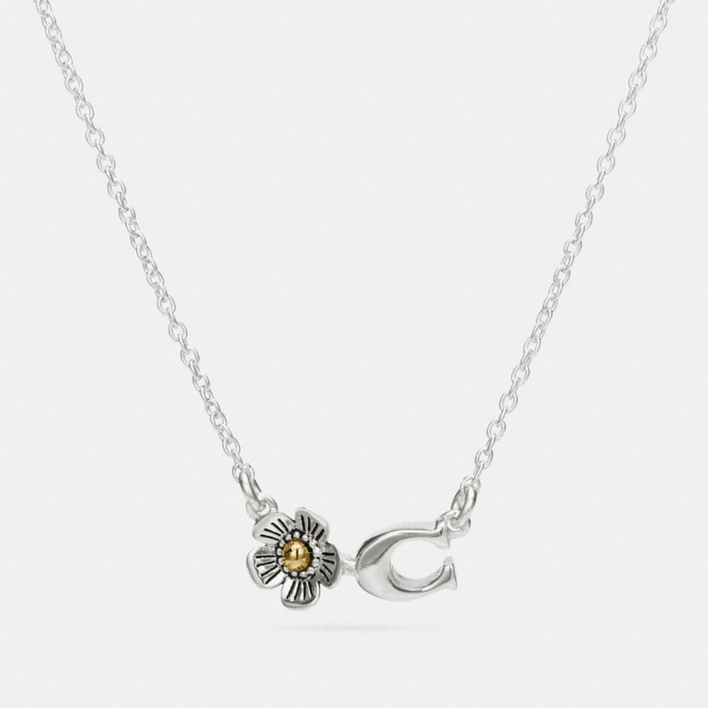 STERLING SILVER SIGNATURE C WILLOW FLORAL NECKLACE