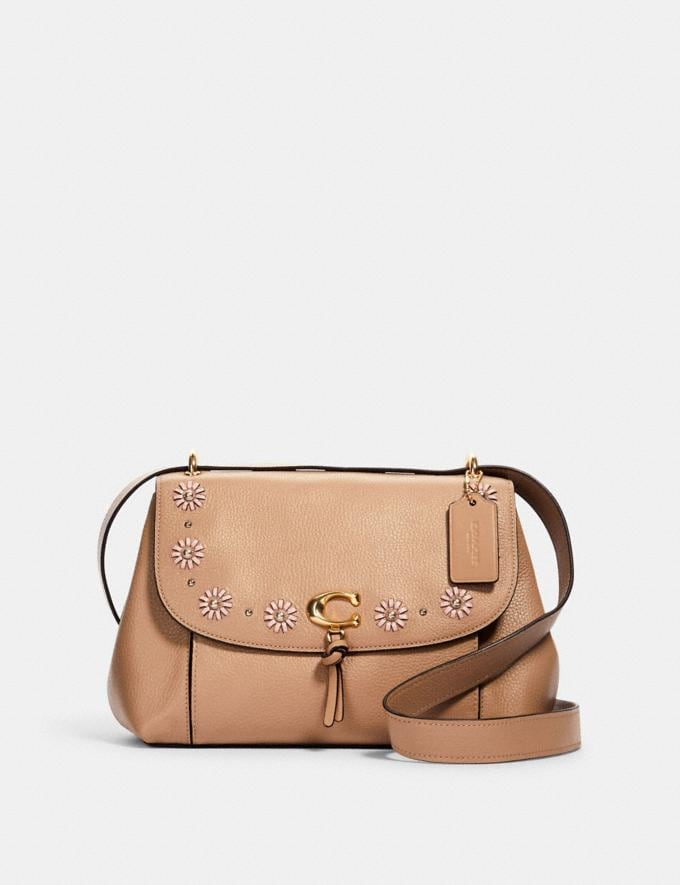 Coach Remi Shoulder Bag With Whipstitch Daisy Applique Im/Taupe Women Bags