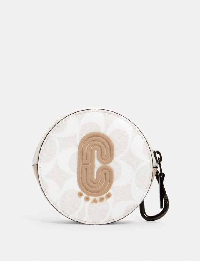 Coach Round Hybrid Pouch in Signature Canvas With Coach Patch Qb/Chalk Steam