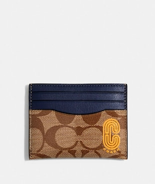 SLIM CARD CASE IN COLORBLOCK SIGNATURE CANVAS WITH COACH PATCH