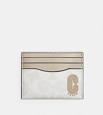 Slim Card Case In Signature Canvas with Coach Patch