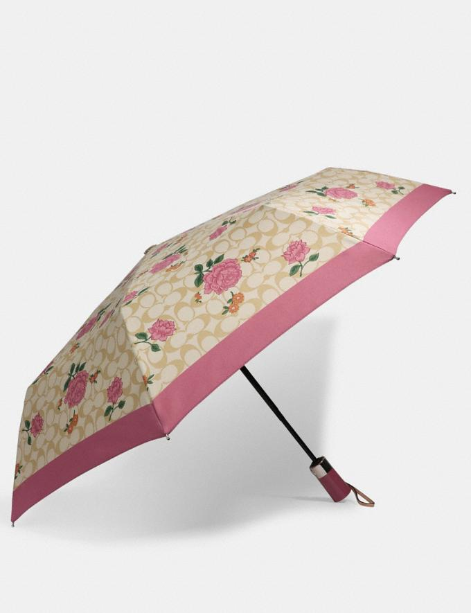 Coach Umbrella in Signature Prairie Print Sv/Light Khaki/Pink DEFAULT_CATEGORY