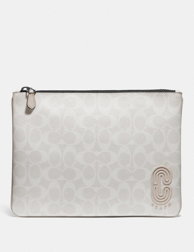 Coach Large Pouch in Signature Canvas With Coach Patch Qb/Chalk Steam