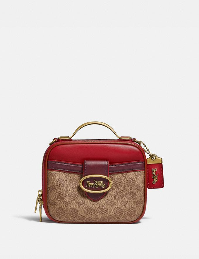 Coach Riley Lunchbox Bag in Colorblock Signature Canvas Brass/Tan Red Apple Multi Women Bags Crossbody Bags