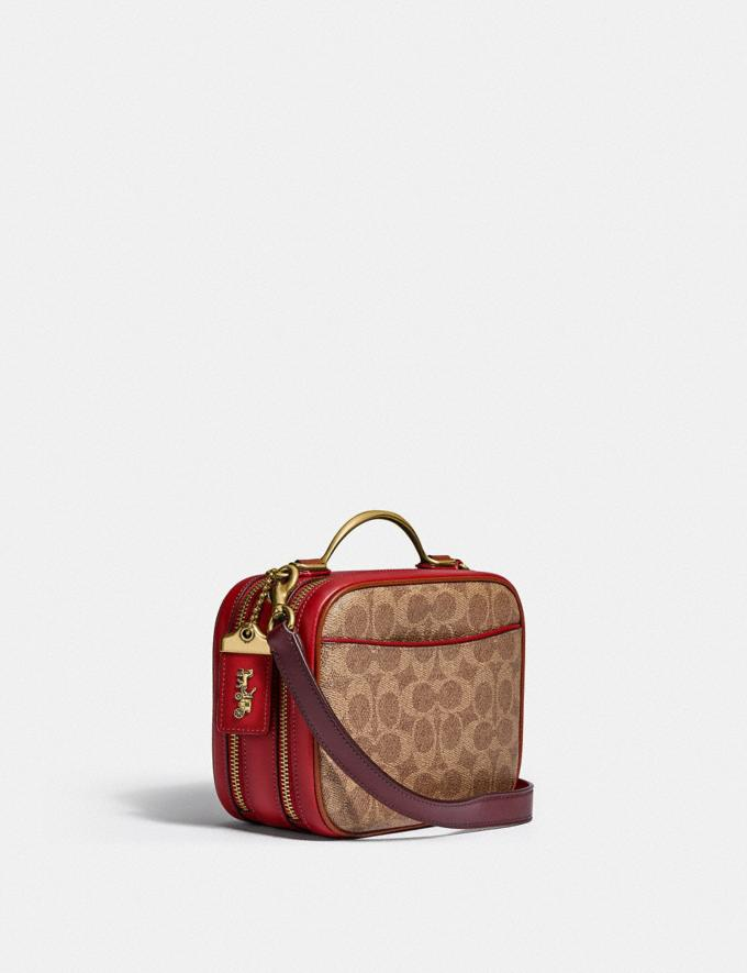 Coach Riley Lunchbox Bag in Colorblock Signature Canvas Brass/Tan Red Apple Multi Women Bags Crossbody Bags Alternate View 1