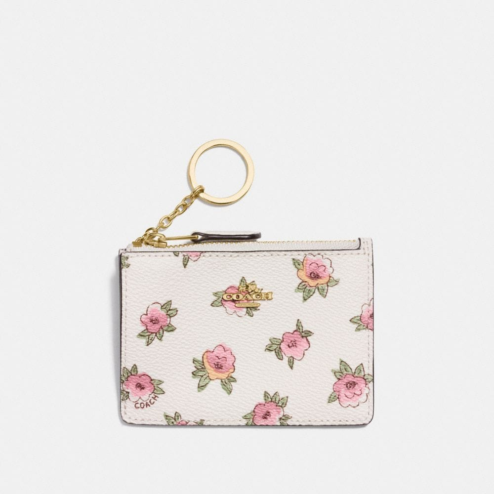 MINI SKINNY ID CASE WITH FLOWER PATCH PRINT