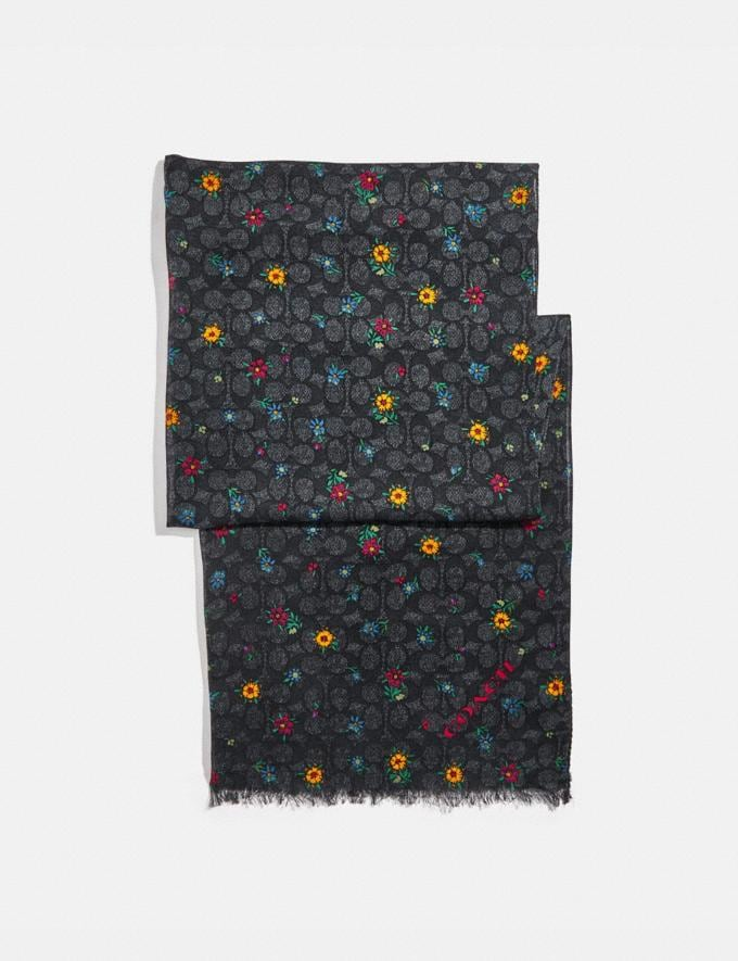 Coach Signature Wildflower Print Oblong Scarf Black Women Accessories Scarves